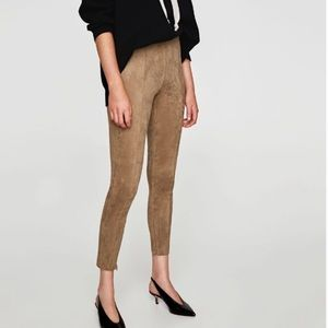 Zara Basic Faux Suede Skinny Pants Small Tan